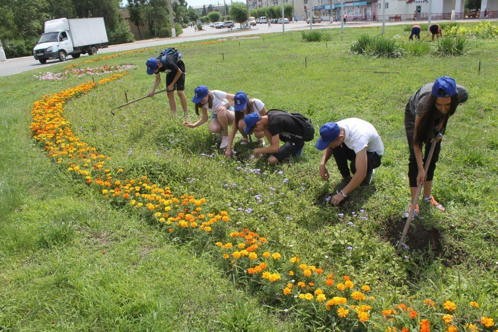 «Волонтеры Победы» Центра «Планета молодых», совместно с МБУ «Благоустройство», провели  акцию по облагораживанию зеленых участков города.